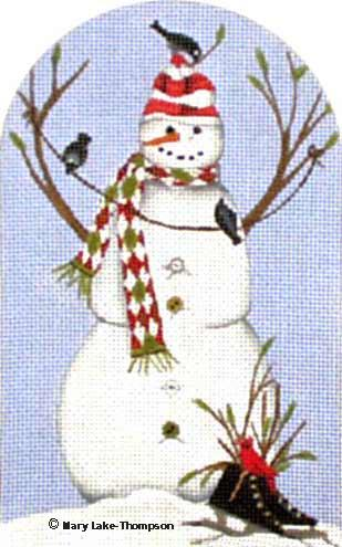 click here to view larger image of Black Skate Snowman (hand painted canvases)