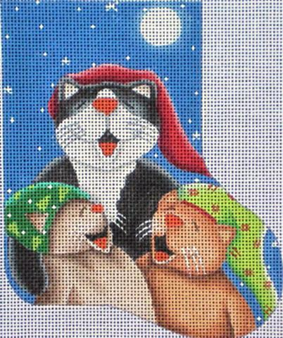 click here to view larger image of Caroling Cats  Mini Sock (hand painted canvases)