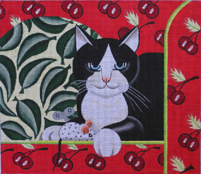 click here to view larger image of Cat & Wind-up Mouse (hand painted canvases)