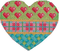 Hearts/Pink/Plaid/Lattice Heart hand painted canvases