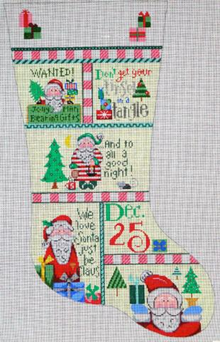 click here to view larger image of Patchwork Stocking (hand painted canvases)