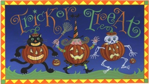 click here to view larger image of Trick or Treat (hand painted canvases)