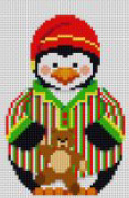 click here to view larger image of Boy Penguin in PJ's with Teddy (hand painted canvases)