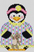 click here to view larger image of Girl Penguin in Nightie with Rabbit (hand painted canvases)