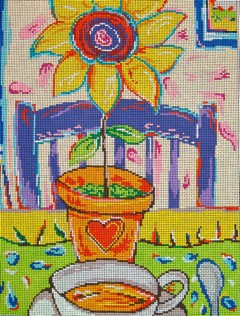 click here to view larger image of Cup of Tea and Sunflower (hand painted canvases)