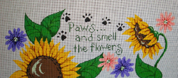 click here to view larger image of Paws and Smell Flowers Canister  (hand painted canvases)