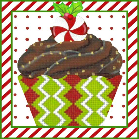 click here to view larger image of Chocolate Frosting Cupcake (hand painted canvases)