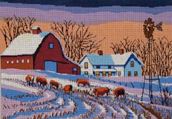 click here to view larger image of Farmstead With Cows  (hand painted canvases)