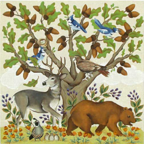 click here to view larger image of Animals Under The Oak (hand painted canvases)