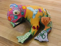 "click here to view larger image of ""Austin""  3-D Frog Patchwork (hand painted canvases)"