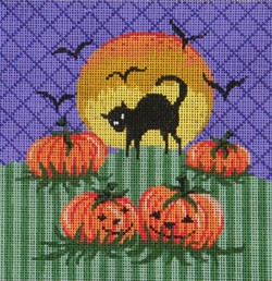 click here to view larger image of Halloween Cat, Moon and Pumpkin (hand painted canvases)
