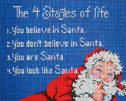 click here to view larger image of 4 Stages of Life...Santa (hand painted canvases)