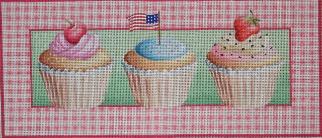 click here to view larger image of Three Cup Cakes (hand painted canvases)