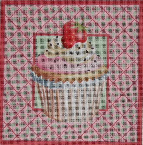 click here to view larger image of Strawberry Cup Cake (hand painted canvases)