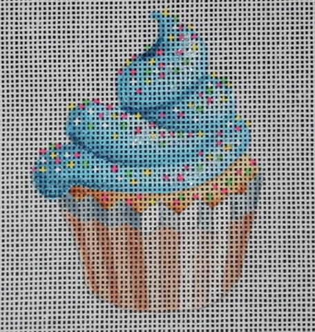 click here to view larger image of Mini Blue Icing Cup Cake (hand painted canvases)