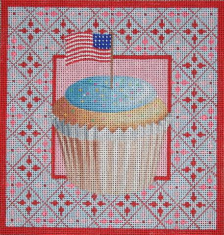 click here to view larger image of Stars and Stripes Cupcake (hand painted canvases)