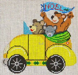 click here to view larger image of Yellow VW Bug With Bears  (hand painted canvases)