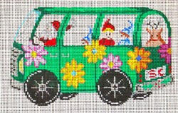 click here to view larger image of Green VW Bus with Santa (hand painted canvases)