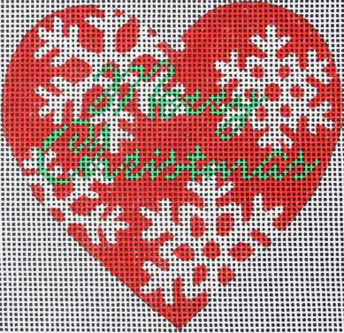 click here to view larger image of Red Snowflake Heart (hand painted canvases)