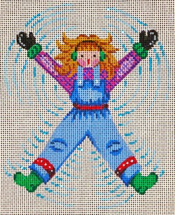 click here to view larger image of Blue Overalls Snow-Angel (hand painted canvases)
