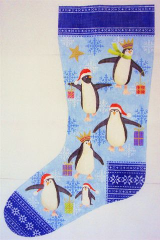 click here to view larger image of Penguin Christmas Stocking (hand painted canvases)