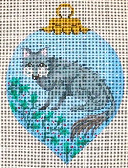 click here to view larger image of Wolf Ornament  (hand painted canvases)
