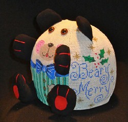 click here to view larger image of PUDGIE Christmas Bear  (hand painted canvases)