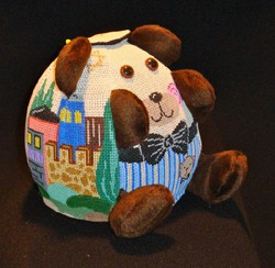 click here to view larger image of PUDGIE Judaica Bear  (hand painted canvases)