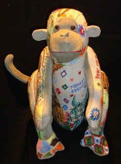"click here to view larger image of Monkey Patchwork ""Kit"" (hand painted canvases)"