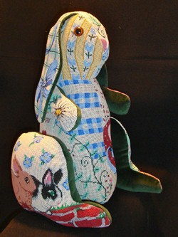 "click here to view larger image of ""Juliette"" 3-D Bunny Patchwork (hand painted canvases)"