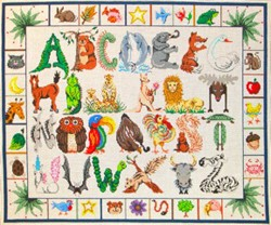 click here to view larger image of Animal Alphabet Sampler (hand painted canvases)