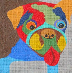 click here to view larger image of Bulldog or Pug on Gray  (18ct) (hand painted canvases)
