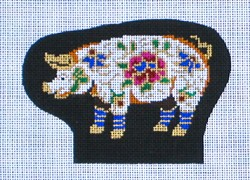 click here to view larger image of Pig Cloisonne Figurine (hand painted canvases)