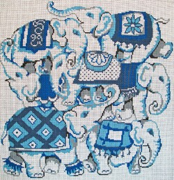 click here to view larger image of Blue Elephant Collage (hand painted canvases)