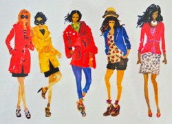 click here to view larger image of 5 Fashion Gals (hand painted canvases)