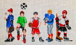 click here to view larger image of Boys in Sports (hand painted canvases)