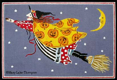 click here to view larger image of Flying Witch  (hand painted canvases)