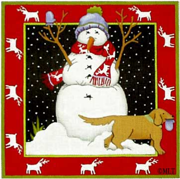 click here to view larger image of Snowman's Best Friend/Golden Lab (hand painted canvases)