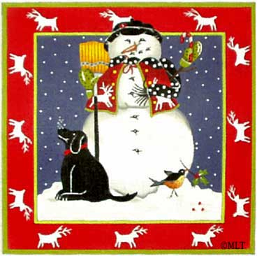 click here to view larger image of Snowman's Best Friend/Black Lab  (hand painted canvases)