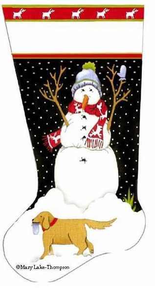 click here to view larger image of Snowman's Best Friend Stocking - Golden Lab (hand painted canvases)
