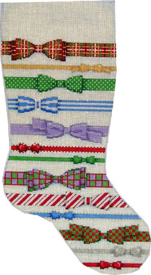 click here to view larger image of  Bows Stocking (hand painted canvases)