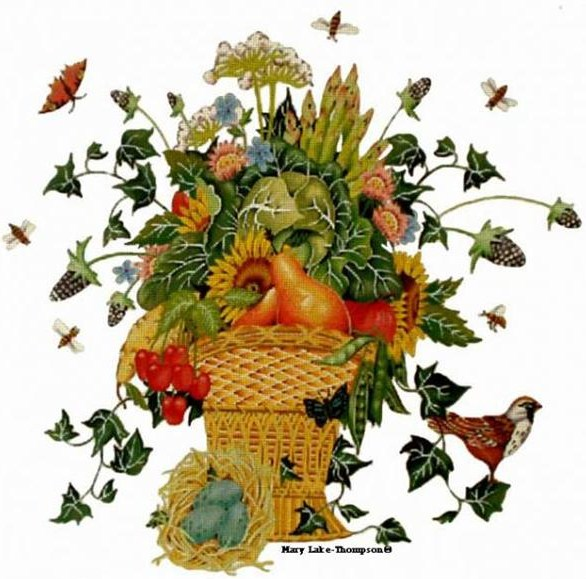 click here to view larger image of Garden Basket (hand painted canvases)