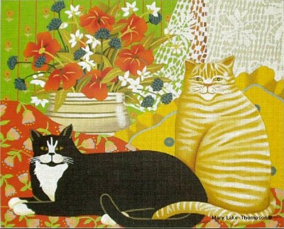 click here to view larger image of Two Cats at Home (hand painted canvases)
