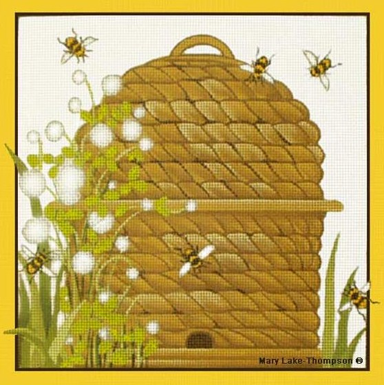 click here to view larger image of Bees Skeps (hand painted canvases)