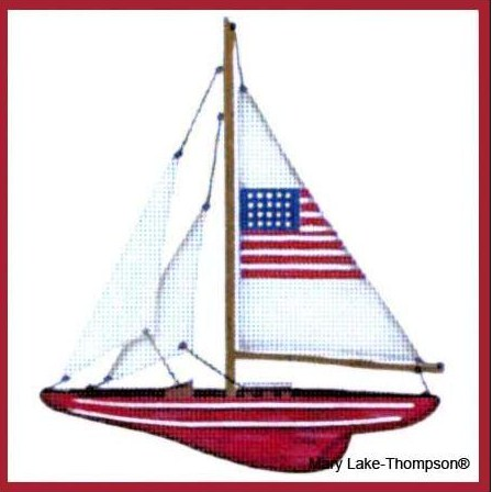 click here to view larger image of Flag Sailboat  (hand painted canvases)