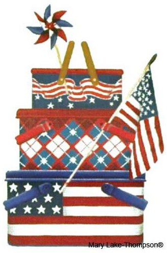 click here to view larger image of July 4th Picnic Baskets  (hand painted canvases)