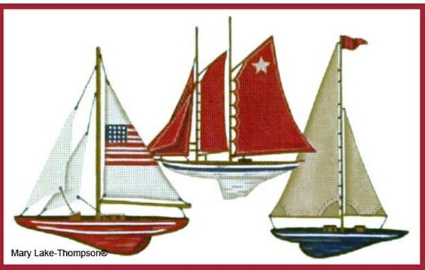 click here to view larger image of 3 Sailboats (hand painted canvases)