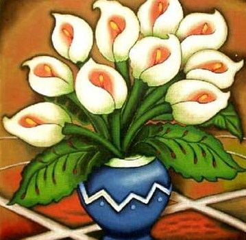 click here to view larger image of Blue Vase Calla Lilies  (hand painted canvases)