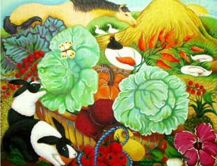 click here to view larger image of Barnyard Fantasy  (hand painted canvases)