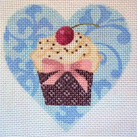 click here to view larger image of Mini Cupcake BlueHeart (hand painted canvases)